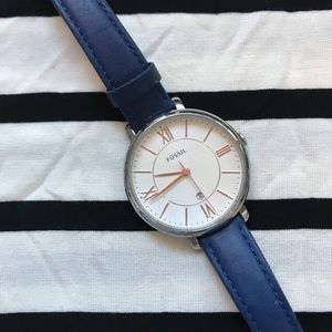 FOSSIL navy blue watch
